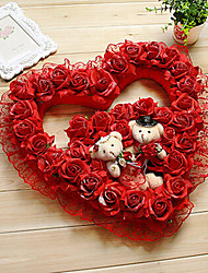 "15.7"" Rural Style Red Heart-Shaped Simulation Flower Garland with Toy Bears Plastic Garland"