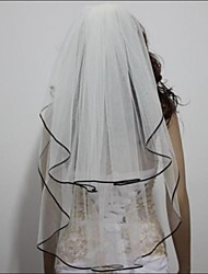 Wedding Veil Two-tier Elbow Veils Black Ribbon Edge
