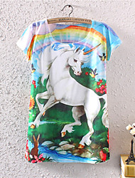 Women's O-Neck 2015 New Summer Fashion  Unicorn Cotton T shirt(Cotton Blends)