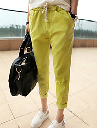 Women's Fashion Candy Color Elastic Waist Casual Pant