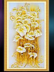 jaune fleur de lys 5d résine bricolage carré diamant point de croix kit peinture impression (70 * 130cm)