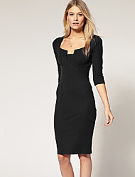 SONGEWomen's Work ½ Length Sleeve Dresses (Cotton)