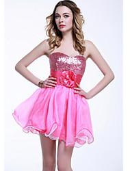 A-Line Sweetheart Sequins Flower Tulle Short/Mini Formal Evening Dress