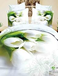 Blumenmuster Bettwäsche Satzbaumwoll volle Königin König Bettbezug flachen Blech Bettsatz 4-teilig