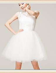 Short/Mini Lace / Tulle Bridesmaid Dress - Ivory A-line High Neck