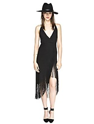 Haoyouduo Women's Sexy Backless Tassels Evening Party Asymmetrical Dress