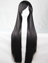 Cosplay Global Hot Models High-quality Synthetic Wig 80cm High Temperature Wire Straight Hair Black Long Straight Hair