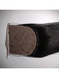 "Silk Base Closure 10"" Straight Malaysian Virgin Hair Closures Silk Base Free Style Natural Colour 1Pc"