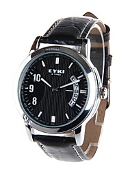 EYKI W8408G Men's Waterproof Leather Stainless Steel Casual Wristwatch