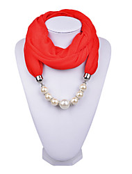 D Exceed   Girl Necklace Scarf Fashion Solid Color Chiffon Wraps with Fake Pearl Beads Pendant Scarves