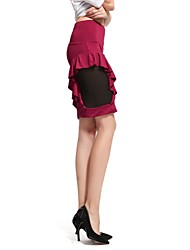 Women's Bodycon Micro-elastic Medium Above Knee Skirts (Mesh/Others)