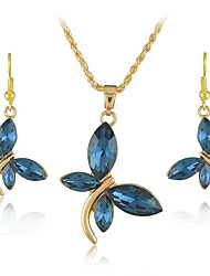18K Gold Plated Crystal Dragonfly Pendants Necklace Dangle Earring Jewelry Set for Office Lady Dress (More Colors)