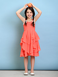 Lanting Bride® Knee-length Chiffon Junior Bridesmaid Dress A-line Straps with Criss Cross / Ruching