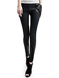 Women Others Medium Solid Color/PU Legging