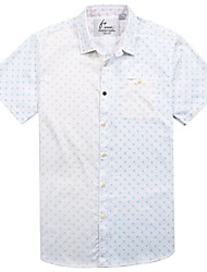 Men's Short Sleeve Shirt , Cotton Casual/Work/Formal/Sport/Plus Sizes Print
