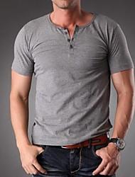 Men's Casual/Work/Formal/Sport/Plus Sizes Plain Short Sleeve T-Shirts (Cotton/Spandex)