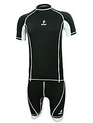 Men's Short Sleeve Polyester Spandex Compression Suits 3/4 Tights Breathable Quick Dry Fitness Clothing