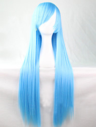 The New Anime Sky Blue Long Straight Hair Wig 80CM