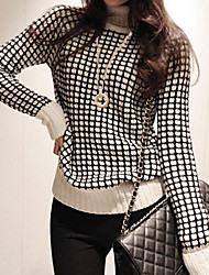 Jojo Women's New Korean Turtle Neck Lapel Check Sweater