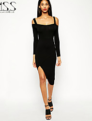 SMSS Women's Sexy Backless Bodycon Evening Party Asymmetrical Dress