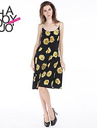 Women's Beach Dress,Floral Maxi Sleeveless Black Polyester Summer