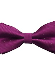 Men's Classic Red Purple Silver Dots Microfibre Bowtie