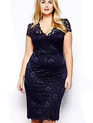 Women's Plus Size Blue Dress, Short Sleeve V Neck
