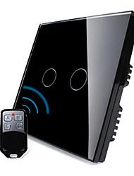 norme au Royaume-Uni, livolo panneau de verre de cristal de perle noire, la lumière de la maison à distance sans fil, 2 postes 2 way switch,