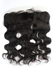 """1pcs / lot 16inch 13 """"x4"""" brésiliens vierges vague de corps de fermeture de cheveux de dentelle de cheveux humains frontale fermeture"""