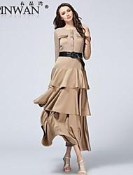 yipinwan ® sólido vestido de chiffon babados céu aberto saia das mulheres