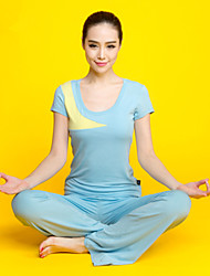 The New Spring And Summer, Ms. Fitness Yoga Clothes Fine Cut Spell Color Short-Sleeved Suit 23108M