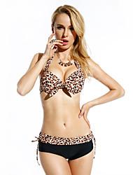 hogoo leopardo biquíni lycra spandex das mulheres