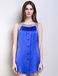 Royal Blue Lady's Suspender Silk Dress Women Sleeveless Pajamas with Sex Appeal of 100% Heavy Silk Fabric