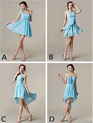 mezclar& vestidos de partido corto / mini vestidos de gasa 4 estilos de dama de honor (2839947)