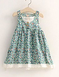 Girl's Fashion Blue Floral Cotton Sundress Party Lovely Children Clothes Dresses