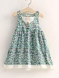 Menina de Vestido Floral Algodão Verão / Primavera Azul