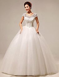 Ball Gown Floor-length Wedding Dress -Scoop Velvet Chiffon
