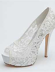 Women's Wedding Shoes Heels/Peep Toe/Platform Heels Wedding Black/Pink/Ivory/White
