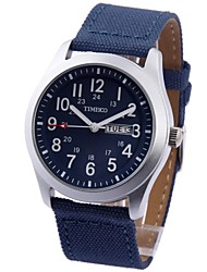 Time100 Men's Fashional Multifunctional Canvas Belt Strap Waterproof Quartz Watches(Assorted Colors)