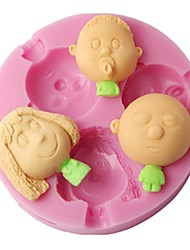 FOUR-C 3D Decor Mold Baby Boy And Girl Silicone Mould Color Pink