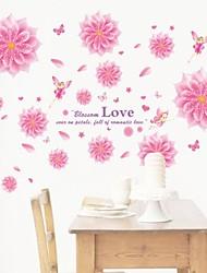 decalques de parede adesivos de parede, flor de fadas estilo de solteira pvc rosa adesivos de parede