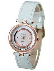 Women's Round Dial Leather Band Quartz Wrist Watch