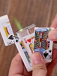 Electric Shock Windproof Butane Lighter Poker Spoof Tricky (Random Color Patterns)