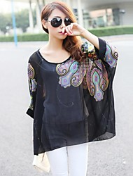 Women's Casual Colorful Print Loose Bohemian Chiffon Batwing Sleeve Blouse
