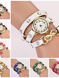 Women's Round White Dial Leather Band Quartz Bracelet Watch  (Assorted Color) C&D34 Cool Watches Unique Watches