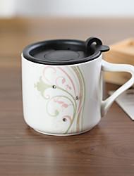 Creative Ceramic Mug with Cover Decorative  Pattern Random