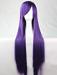 The New Cartoon Purple Long Straight Brown Hair Wig 80CM
