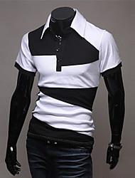 Bodycon/Informell Rollkragen - Kurzarm - MEN - T-Shirts ( Baumwoll Mischung )