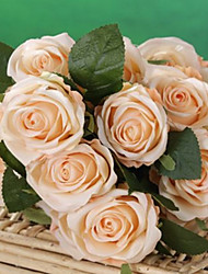 """20""""L Set of 18 Heads Spring  Rose Silk Cloth Flowers Champagne"""