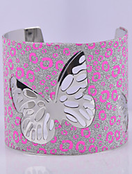 D Exceed Women's Bracelet Fashion Silver Plated Wide Bracelet Hollow Out Butterfly Scrub Cuff Bangles
